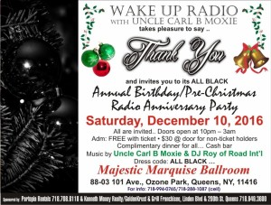 2016 WAKE UP RADIO ALL BLACK THANK YOU BIRTHDAY / PRE-CHRISTMAS RADIO ANNIVERSARY PARTY